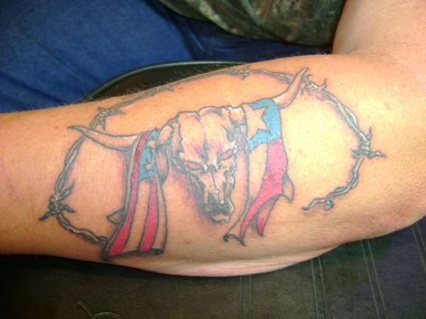 Raging bull skull with American Flag tattoo design.