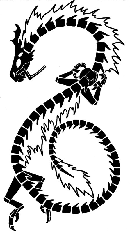 This large tribal dragon tattoo design is a good choice for men and women.