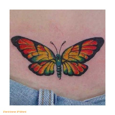 Girly flying butterfly tattoo design.
