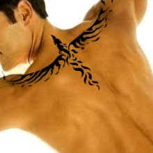 A  tribal flying phoenix tattoo design on man's upper back.