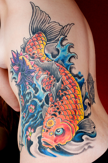 Gorgeous Japanese koi fish tattoo at the left side of Japanese girl's body.