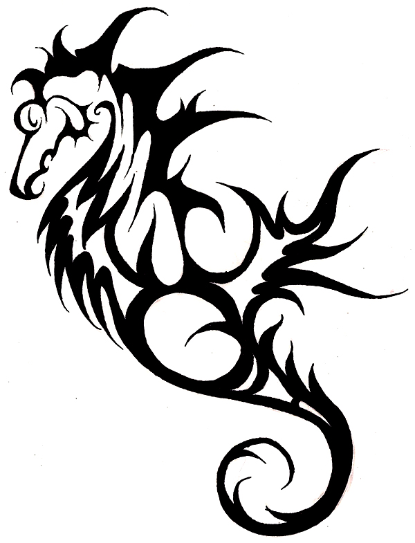 A tribal seahorse tattoo design sample.