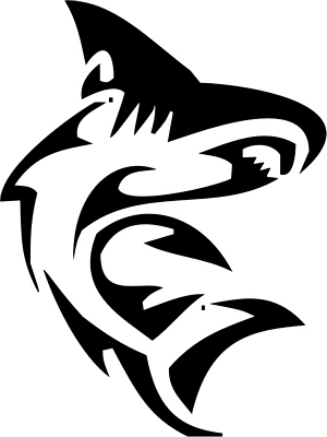 Usual tribal shark tattoo design for men and women.