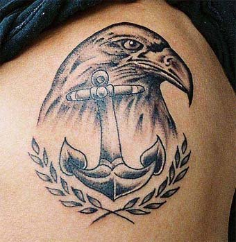 Patriotism eagle with anchor tattoo design on arm.