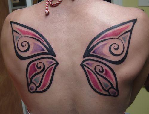 Black, aqua, pink and purple colors tribal butterfly wings tattoo design.