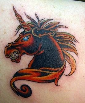 Dark color purity unicorn tattoo for men and women.